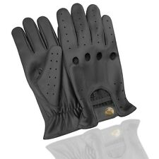 Retro style quality mens leather driving gloves unlined chauffeur 507 black