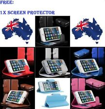 FLIP WALLET LEATHER CASE COVER FOR APPLE IPHONE 5 5G FREE SCREEN PROTECTOR
