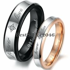 """Stainless Steel """" Forever Love """" Engagement Promise Ring Couples Wedding Band"""