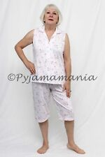 Pyjamas Ladies Sleeveless 2pc Pjs Capri Set (Sz 12-22) Pink Cherries Sz 12 14 16