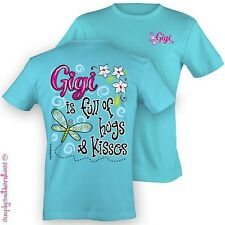 Girlie Southern Gigi FULL OF HUGS & KISSES T-Shirt on Sky Blue Simply southern