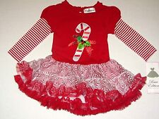 New Rare Editions Candy Cane Tutu Dress Holiday Toddler Girls Outfit SZ 2 T 4 T