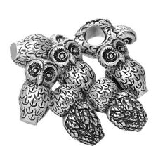 Wholesale Lots Silver Tone Owl Charm Beads Fit Charm Bracelet 18x10mm