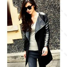 Fashion Women Long PU Leather Sleeve Jacket Slim Coat Parka Trench Windbreaker