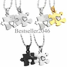 """Stainless Steel """" Just for You """" Love Heart Puzzle Piece Couple Pendant Necklace"""