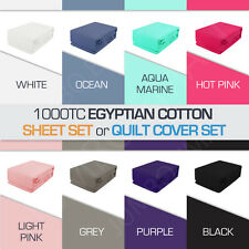 1000TC Egyptian Cotton All Size Sheet Set(Fitted,Flat,Pillowcase) or Quilt Cover