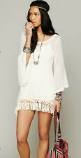 Free People Gypsy Junkies 100% Silk Mimi Tunic Ivory Eyelet  BNWT