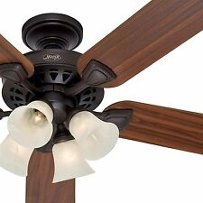 """Hunter 52"""" Traditional Large Room New Bronze Ceiling Fan with 4 Light"""