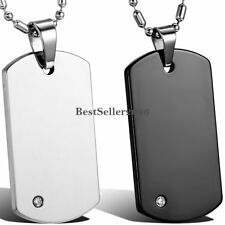 Men's Tungsten Carbide Polished Army Dog Tag Pendant Necklace Black / Silver