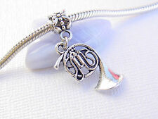 Cute Silver French Horn Trumpet Music Musical European Dangle Charm fit Bracelet