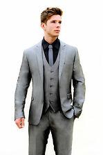 MJ-80 MENS 2PC SILVER GREY SLIM FIT SUIT IDEAL FOR WEDDINGS/PROMS/OCCASIONS