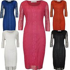 New Womens Plus Size Gorgeous 3/4 Sleeve Floral Lace Knee Length Dress 14-28