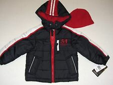 New London Fog Insulated Jacket Puffer Winter Coat with Hat Boys Toddler SZ 2 T