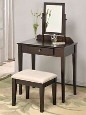 Espresso Vanity makeup set stool & mirror new