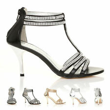 NEW WOMENS LADIES DIAMANTE  SANDALS SHOES HIGH HEELS WEDDING BRIDAL SIZE 3-8