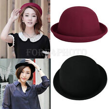 Fashion Womens Lady Vogue Vintage Wool Cute Trendy Solid Bowler Derby Hat