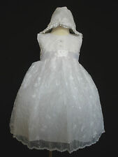 Baby Girls Baptism Christening Formal Dress Gown + Bonnet size 0 3 (0-24M) white