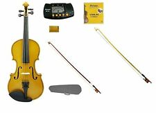 New Gold Violin,Gold Bow+Natural Bow,Case,2 Sets Strings,Rosin,Metro Tuner