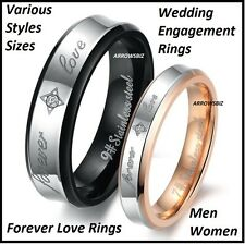 Men Women Couple Wedding Engagement Gold Silver Metal Love Rings Size 5 -12
