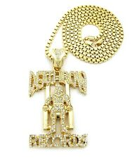 """Iced Out DEATH ROW RECORDS Pendant 4mm/36"""" Box Chain Hip Hop Necklace XP864BX"""