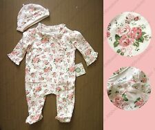 Little Me Baby Girl Elegant CABBAGE ROSE FOOTIE footed one piece + Hat 2pc Set