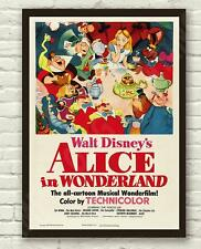 Vintage Disneys Alice in Wonderland Movie Film Poster Print Picture A3 A4