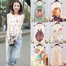 Personality Girls Chiffon Tee Shirt Casual Korean Cami Tank Vest Tops Blouse