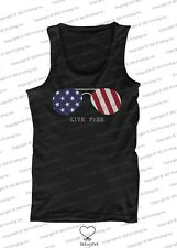 July 4th Red White and Blue Live Free American Flag Sunglasses Men's Tank Tops
