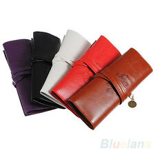 Vogue Ladies Roll Leather Makeup Cosmetic Pen Pencil Case Pouch Purse Bag B1CU