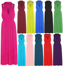 WOMENS LADIES SPRING COIL MAXI JERSEY DRESS LADIES SLEEVELESS STRETCH MAXI DRESS