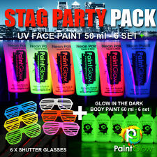 STAG PARTY PACK! 6 x UV Face Paints / 6 x Glow in the Dark Paints / 6 x Shutters