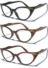 CAT EYE CLEAR LENS GLASSES WITH RHINESTONES Retro Hipster Women's Vintage Style
