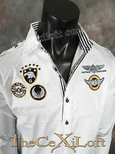 Mens VICTORIOUS White Shirt Pilot Aviation Embroidered Patches ROAR with Class