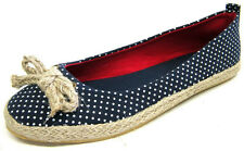LADIES SPOT ON SLIP ON CANVAS PUMPS/SHOES WITH WHITE SPOTS AND BOW DETAIL F2177S