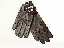 GENUINE LEATHER BROWN DRIVING GLOVES ALL SEASONS M L XL  POLICE GLOVES