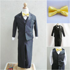 Black boy formal suit with yellow sunbeam bow tie wedding party graduation