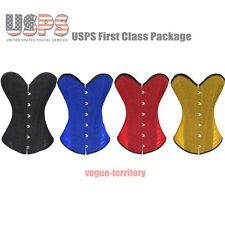 Sexy Ladies Shiny Series Boned Lace Up Overbust Corset Top Bustier Lingerie Hot