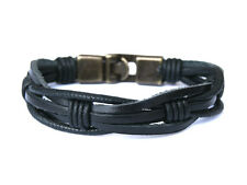 "Men Leather bracelet - Rustic-Black - Gift for Him -""Raw Leather"" multi strand"