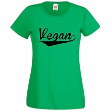 LADIES T SHIRT VEGAN BASEBALL STYLE ANIMAL RIGHTS VARIOUS COLOURS AND SIZES