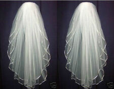 2 layers of white or ivory Wedding Bridal Elbow Satin Edge Veil With Comb