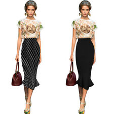 Womens Vintage Polka Dot High Waist Party Cocktail Mermaid Pencil Midi Skirt 607