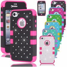 3 Layers Bling Crystals Hybrid Hard + Soft Case Cover Skin for iPhone 4 4s