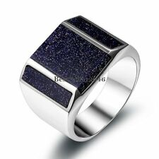 Stainless Steel Princess Artificial Purple Sand Stone Wedding Anniversary Band