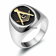 Silver Stainless Steel Gold Tone Masonic Black Oval Mason Mens Ladies Ring