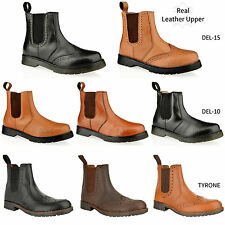 MENS LEATHER DEALER CHELSEA LACE BROGUE SLIP PULL ON GUSSET ANKLE BOOTS SIZE