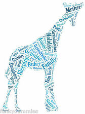 PERSONALISED CUSTOM WORD ART PRINT, ANY COLOUR, COMPLETELY UNIQUE, GIRAFFE