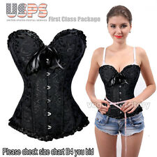 Womens Sexy Boned Lace Up Corset Bustier Top Lingerie G-string Plus Size S-6XL