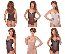 String Body Spaghetti Straps And Lace See Through Lace Bodysuit Thong Underwear