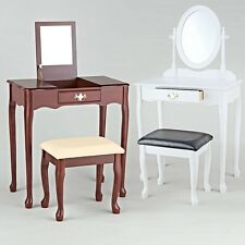 Dressing table mirror stool wood white colonial antique chest drawers Dressing