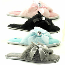 WOMENS LADIES FLAT SOFT COMFORT JEWEL LIGHTWEIGHT MULE OPEN TOE SLIPPERS SIZE